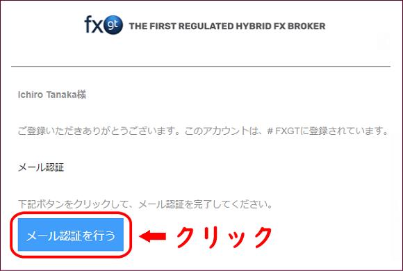 FXGTのメール認証画面