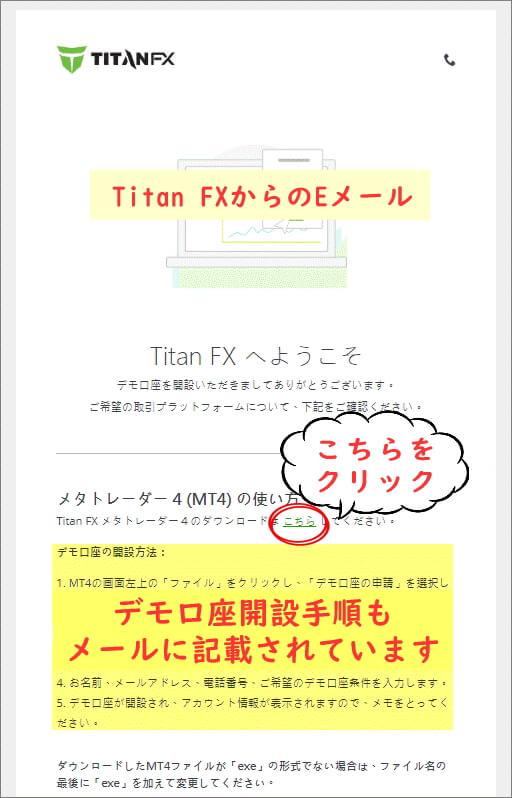 Titan FX(タイタン FX)のデモ口座登録完了画面