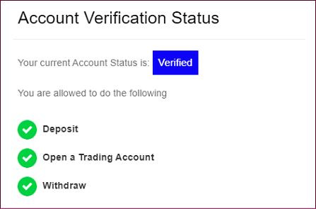 FXGTのアカウント認証完了画面