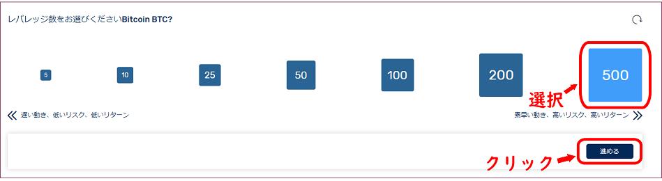 FXGTのレバレッジ選択画面