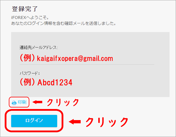 iFOREXのアカウント登録完了画面