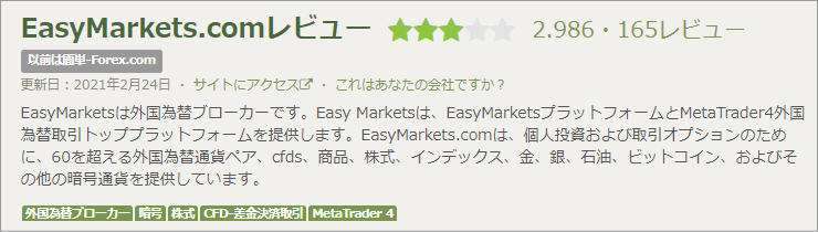 FPAのeasyMarketsに対する評価