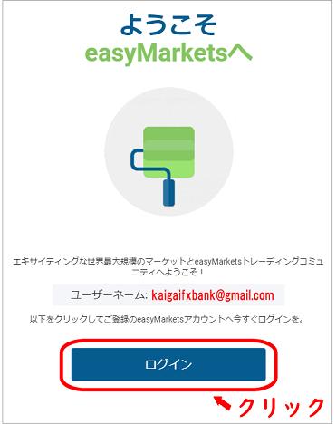 easyMarketsから届くアカウント開設後のメール